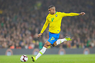 Brazil midfielder Walace (17) takes a shot during the Friendly International match between Brazil and Uruguay at the Emirates Stadium, London, England on 16 November 2018.