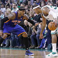 04 March 2012: New York Knicks small forward Carmelo Anthony (7) defends on Boston Celtics small forward Paul Pierce (34) during the Boston Celtics 115-111 (OT) victory over the New York Knicks at the TD Garden, Boston, Massachusetts, USA.