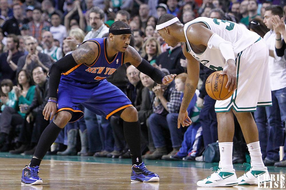 04 March 2012: New York Knicks small forward Carmelo Anthony (7) defends on Boston Celtics small forward Paul Pierce (34) during the Boston Celtics 115-111 (OT) victory over the New York Knicks at the TD Garden, Boston, Massachusetts, USA.