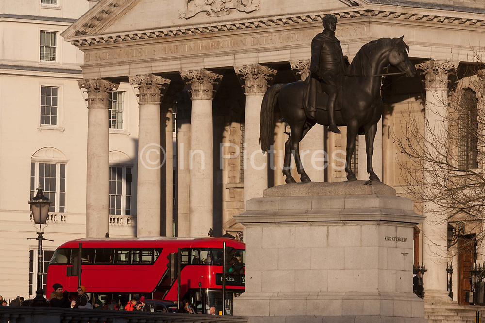 The statue of King George IV, opposite the church of St Martin-in-the-Fields, on 17th January 2017, in Trafalgar Square, London England.
