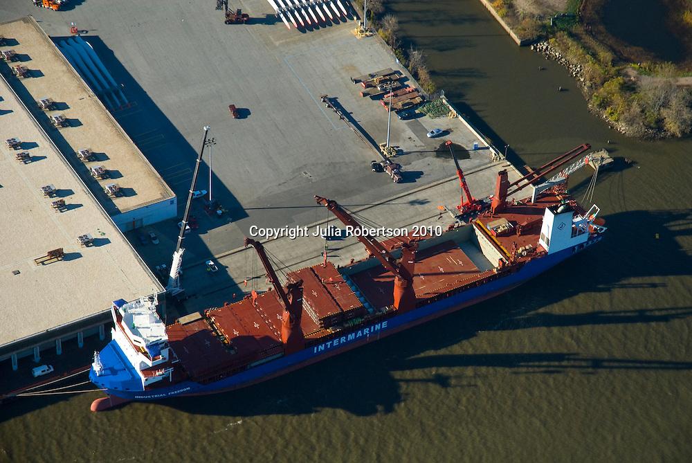 Aerial views of Intermarine tanker Ship, unloading wind turbines