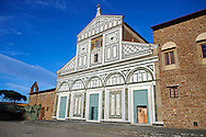 The Romanesque marble facade & mosaic begun in about 1090 of San Miniato al Monte (St. Minias on the Mountain) basilica , Florence, Italy. .<br /> <br /> Visit our ITALY PHOTO COLLECTION for more   photos of Italy to download or buy as prints https://funkystock.photoshelter.com/gallery-collection/2b-Pictures-Images-of-Italy-Photos-of-Italian-Historic-Landmark-Sites/C0000qxA2zGFjd_k<br /> If you prefer to buy from our ALAMY PHOTO LIBRARY  Collection visit : https://www.alamy.com/portfolio/paul-williams-funkystock/florence.html .<br /> .<br /> <br /> Visit our MEDIEVAL PHOTO COLLECTIONS for more   photos  to download or buy as prints https://funkystock.photoshelter.com/gallery-collection/Medieval-Middle-Ages-Historic-Places-Arcaeological-Sites-Pictures-Images-of/C0000B5ZA54_WD0s