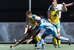 (L-R) Eddie Ockenden of Australia, Simjanreet Singh of India, Aran Zalewski of Australia during the Champions Trophy finale between the Australia and India on the fields of BH&BC Breda on Juli 1, 2018 in Breda, the Netherlands.
