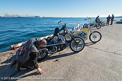 "Oliver Jones with his 1969 HD Shovelhead ""EREBUS"" at the local docks before the Mooneyes Yokohama Hot Rod & Custom Show. Yokohama, Japan. December 5, 2015.  Photography ©2015 Michael Lichter."