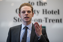 © Licensed to London News Pictures . 16/02/2017. Stoke-on-Trent, UK. JACK BRERETON speaks . Hustings in Stoke-on-Trent Central by-election at the Quality Hotel in Stoke , for local businesses with Lib Dem candidate Dr Zulfiqar Ali, Conservative candidate Jack Brereton,  Labour candidate Gareth Snell and, in place of UKIP candidate Paul Nuttall who didn't turn up , Patrick O'Flynn . Photo credit: Joel Goodman/LNP