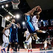 Anadolu Efes's Derrick Brown (R) during their Turkish Basketball Spor Toto Super League match Anadolu Efes between Turk Telekom at the Abdi ipekci arena in Istanbul, Turkey, Sunday 22, November 2015. Photo by Aykut AKICI/TURKPIX