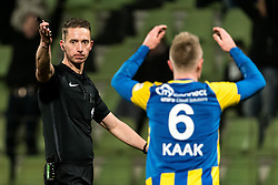 referee Christiaan Bax gives a penalty, Lion Kaak of FC Oss is disappointed during the Jupiler League match between FC Dordrecht and FC Oss at the Riwal Hoogwerkers Stadium on January 26, 2016 in Dordrecht, The Netherlands