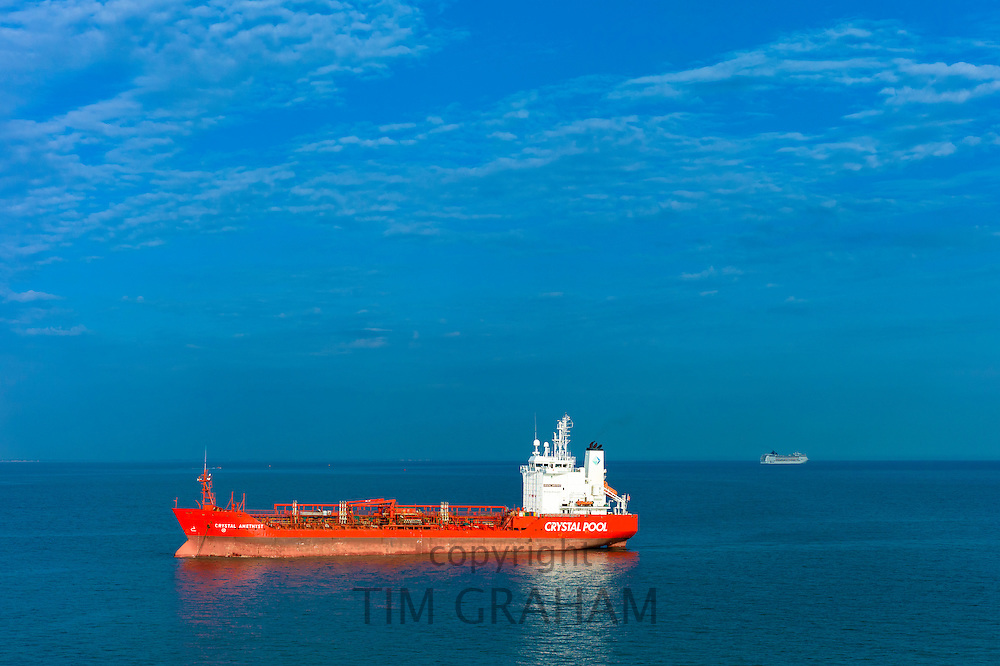 Crystal Amethyst double hull oil/chemical tanker of Crystal Pool fleet in the English Channel with ferry passing, Portsmouth, UK