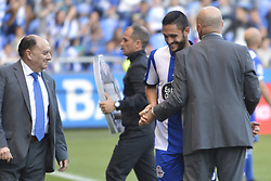 May 20, 2017 - Pepe Mel, Deportivo coach and Andone. LA CORUNA SPAIN. MAY 20, 2017 - La Liga Santander match day 38 game. Deportivo La Coruna defeated Las Palmas with goals scored by Florin And one (4th and 28th minute) and Carles Gil (39th minute). Riazor Stadium, Spain. Photo by Monica Arcay Carro | PHOTO MEDIA EXPRESS (Credit Image: © Monica Arcay Carro/VW Pics via ZUMA Wire/ZUMAPRESS.com)