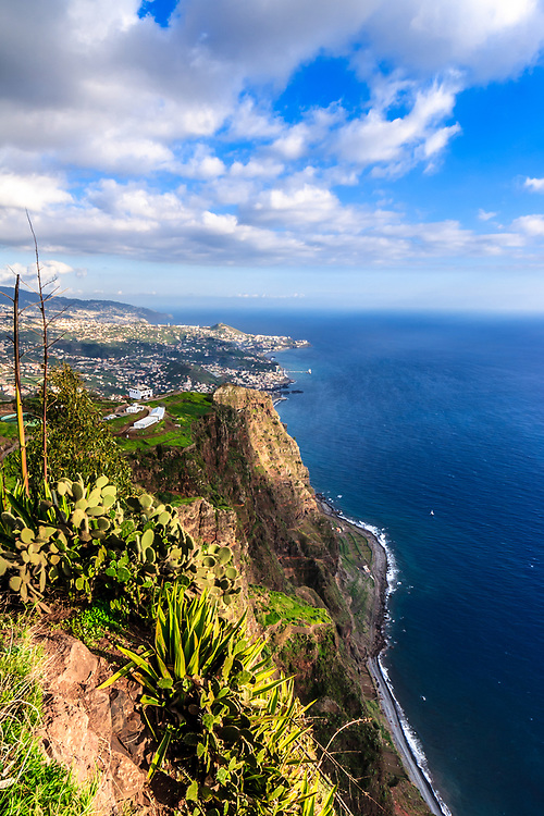 Funchal seen from Gabo Girão in Madeira, Portugal. The highest sea cliff in Europe, Cabo Girão is peaking at 589m (1,932 ft) above sea level.