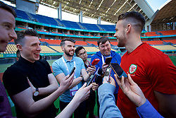 NANNING, CHINA - Tuesday, March 20, 2018: Wales' Chris Gunter speaks to the media before a training session at the Guangxi Sports Centre ahead of the opening 2018 Gree China Cup International Football Championship match against China. (Pic by David Rawcliffe/Propaganda)
