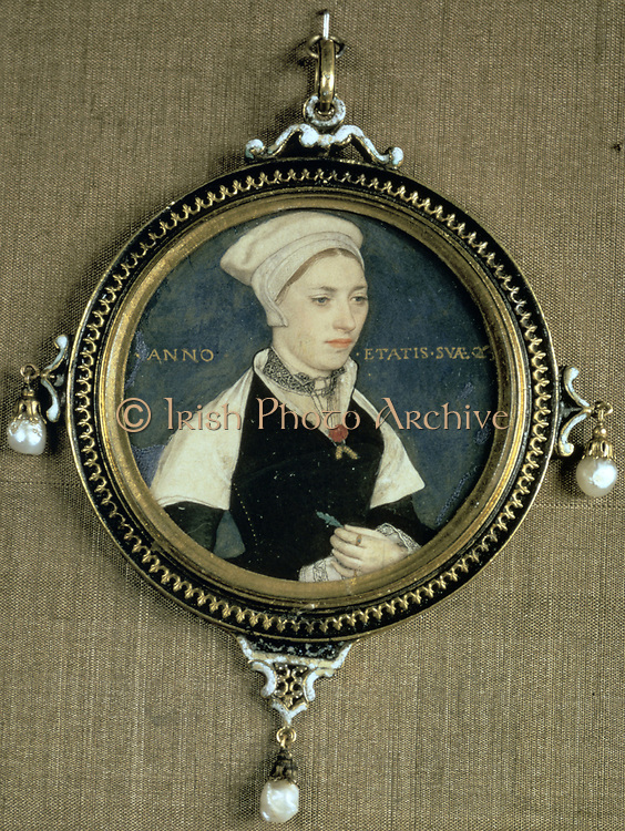 Miniature portrait of Jane Small (or Marguerite Pemberton?) on vellum, enclosed in a pendant with three baroque pearls, c1540.  Hans Holbein the Younger (c1497-1543) German artist and printmaker, Northern Renaissance style.