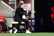 Manchester United Women Manager Casey Stoney gestures during the FA Women's Super League match between Manchester United Women and Brighton and Hove Albion Women at Leigh Sports Village, Leigh, United Kingdom on 4 October 2020.