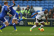 Neeskens Kebano of Fulham ® goes past Joe Ralls of Cardiff city. EFL Skybet championship match, Cardiff city v Fulham at the Cardiff city stadium in Cardiff, South Wales on Saturday 25th February 2017.<br /> pic by Andrew Orchard, Andrew Orchard sports photography.