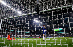 Chelsea's David Luiz reacts after missing his shot in the penalty shoot out during the Carabao Cup Final at Wembley Stadium, London.