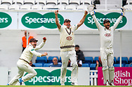 Surrey celebrate taking the wicket of Tim Ambrose of Warwickshire run out by Scott Borthwick of Surrey during the Specsavers County Champ Div 1 match between Surrey County Cricket Club and Warwickshire County Cricket Club at the Kia Oval, Kennington, United Kingdom on 26 June 2019.