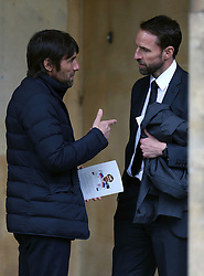 Antonio Conte and Gareth Southgate outside St Luke's and Christ Church, London, where the memorial service for former Chelsea player Ray Wilkins is being held. Wilkins, who began an impressive playing career at Stamford Bridge and also later coached them, died aged 61 following a cardiac arrest.