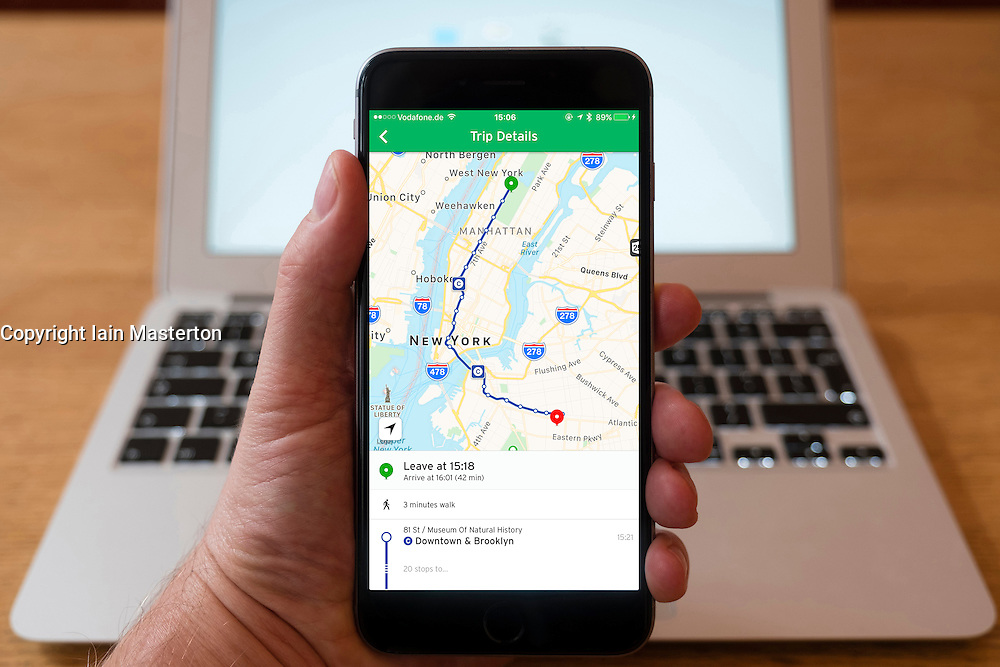 Using iPhone smartphone to display Citymapper route planning app in New York CIty