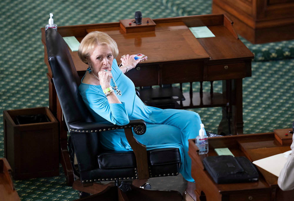 State Sen. Beverly Powell, D-Burleson, listens to a speaker on the Senate floor during a short debate to start the special session on July 8, 2021.