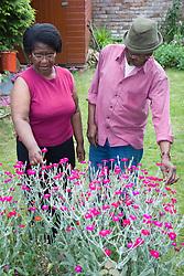 Elderly couple admiring their garden together,