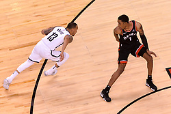 February 11, 2019 - Toronto, Ontario, Canada - Malcolm Miller #13 of the Toronto Raptors runs around Patrick Mc Caw #1 of the Toronto Raptors during the Toronto Raptors vs Brooklyn Nets NBA regular season game at Scotiabank Arena on February 11, 2019, in Toronto, Canada (Toronto Raptors win 127-125) (Credit Image: © Anatoliy Cherkasov/NurPhoto via ZUMA Press)