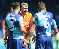 Blackpool's Chris Taylor remonstrates with Wycombe Wanderers' Adam El-Abd<br /> <br /> Photographer Kevin Barnes/CameraSport<br /> <br /> The EFL Sky Bet League One - Wycombe Wanderers v Blackpool - Saturday 4th August 2018 - Adams Park - Wycombe<br /> <br /> World Copyright © 2018 CameraSport. All rights reserved. 43 Linden Ave. Countesthorpe. Leicester. England. LE8 5PG - Tel: +44 (0) 116 277 4147 - admin@camerasport.com - www.camerasport.com