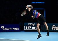 Tennis - 2018 Nitto ATP Finals at The O2 - Day One<br /> <br /> Group Doubles Group Llodra/Santoro: Jamie Murray (GB) & Bruno Soares (Bra) vs. Raven Klaasen (SA) & Michael Venus (NZ)<br /> <br /> Murray serves.<br /> <br /> COLORSPORT/ASHLEY WESTERN