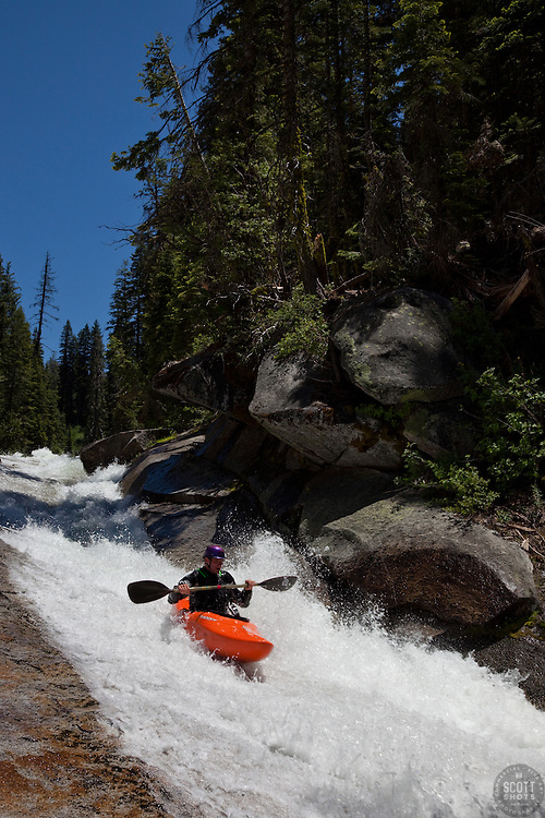 """""""Kayaker on Silver Creek 3"""" - This kayaker was photographed on Silver Creek - South Fork, near Icehouse Reservoir, CA."""