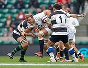 England lock Joe Launchbury (Wasps) drives through the Barbarians defence during the International Rugby Union match England XV -V- Barbarians at Twickenham Stadium, London, Greater London, England on May  31  2015. (Steve Flynn/Image of Sport)