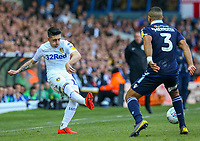 Leeds United's Pablo Hernandez plays a pass under pressure from Millwall's James Meredith<br /> <br /> Photographer Alex Dodd/CameraSport<br /> <br /> The EFL Sky Bet Championship - Leeds United v Millwall - Saturday 30th March 2019 - Elland Road - Leeds<br /> <br /> World Copyright © 2019 CameraSport. All rights reserved. 43 Linden Ave. Countesthorpe. Leicester. England. LE8 5PG - Tel: +44 (0) 116 277 4147 - admin@camerasport.com - www.camerasport.com