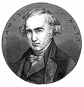 James Watt, Scottish engineer and inventor.    Watt (1736-1819) made great improvements to the steam engine, one of the most significant being the separate condenser.  In 1774 he went into partnership with Matthew Boulton (1728-1809) the Birmingham manufacturer and entrepreneur. From 'Discoveries and Inventions of the Nineteenth Century' by Robert Routledge. (London, 1876). Engraving.