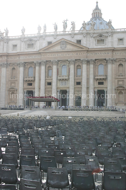 Empty chairs at the Vatican after Papel audience<br />