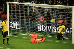 25 February 2017 - Premier League - Watford v West Ham - Isaac Success of Watford (R) reacts after seeing his last minute effort saved by West Ham goalkeeper Darren Randolph - Photo: Marc Atkins / Offside.