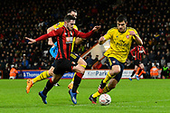 Lewis Cook (16) of AFC Bournemouth on the attack chased by Sokratis Papastathopoulos (5) of Arsenal during the The FA Cup match between Bournemouth and Arsenal at the Vitality Stadium, Bournemouth, England on 27 January 2020.