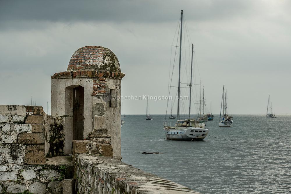 Fort San Jeronimo and sailboats in Portobelo, Panama.