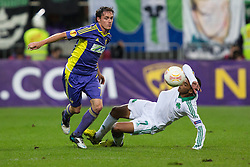 Ales Mejac of NK Maribor and Charis Mavrias of Panathinaikos during football match between NK Maribor and Panathinaikos Athens F.C. (GRE) in 1st Round of Group Stage of UEFA Europa league 2013, on September 20, 2012 in Stadium Ljudski vrt, Maribor, Slovenia. (Photo By Matic Klansek Velej / Sportida)