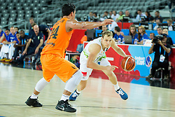 Arvin Slagter of Netherlands vs Jaka Blazic of Slovenia during basketball match between Slovenia vs Netherlands at Day 4 in Group C of FIBA Europe Eurobasket 2015, on September 8, 2015, in Arena Zagreb, Croatia. Photo by Vid Ponikvar / Sportida