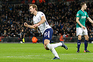 Tottenham Hotspur forward Harry Kane (10) celebrates his goal (score 1-1) during the Premier League match between Tottenham Hotspur and West Bromwich Albion at Wembley Stadium, London, England on 25 November 2017. Photo by Andy Walter.