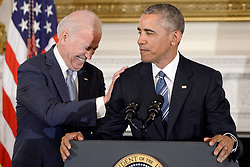"""File photo dated January 12, 2017 of U.S. President Barack Obama delivers remarks at a tribute to Vice-President Biden (L) during an event in the State Dinning room of the White House in Washington, DC, USA. Former President Barack Obama endorsed Joe Biden, his two-term vice president, on Tuesday morning in the race for the White House. """"Choosing Joe to be my vice president was one of the best decisions I ever made, and he became a close friend. And I believe Joe has all the qualities we need in a president right now,"""" Obama said in a video posted to Twitter. Photo by Olivier Douliery/Pool/ABACAPRESS.COM"""