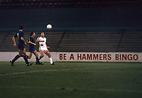 Football - 1980 / 1981 Cup Winners Cup - Round One, Second Leg - West Ham United vs Castilla - Upton Park.<br /> Trevor Brooking of West ham in front of a 'Hammers Bingo' advertising board.<br /> <br /> In these current Covid times of sporting restrictions, it?s 40 years ago on the 1st October that the ?Ghost? Game was played behind closed doors at Upton Park.<br /> Because of crowd trouble in the first leg in Madrid, WHU were fined £7,650 and ordered to play their next two European home games at least 187 miles (300 kilometres) from Upton Park. The second leg was initially moved for Roker Park, Sunderland, but, after an appeal, the penalty was reduced to one home game behind closed doors.<br /> The attendance that night was 262, consisting of invited representatives of the teams, officials and media.<br /> WHU won 3-1 on the night to take the tie into extra time and two more goals from David Cross, who finished with a hat-trick, saw the Hammers through to the second round on aggregate, 6-4.