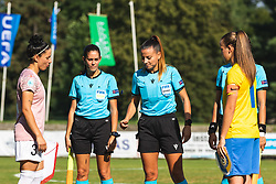 Coin toss before football match between ZNK Pomurje and FC Nike in 2nd Round of UWCL qualifying 2019/20, on Avgust 10, 2019 in Sportni Park Beltinci, Beltinci, Slovenia. Photo by Blaž Weindorfer / Sportida