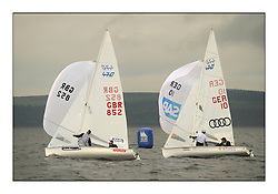 470 Class European Championships Largs - Day 1.Racing in grey and variable conditions on the Clyde..GBR852, Philip SPARKS, David KOHLER,  RLYC, GER10, Ferdinand GERZ, Patrick FOLLMANN, Deutscher Touring Yacht Club