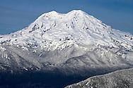 Mount Rainier after a fresh snowfall in winter from Mount Tahoma Trails High Hut, Washington, USA
