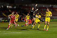 PENALTY Walsall goalkeeper Liam Roberts (#1) is adjudged to have fouled Crawley Town defender Jordan Tunnicliffe (#19) in injury time of the EFL Sky Bet League 2 match between Crawley Town and Walsall at The People's Pension Stadium, Crawley, England on 16 March 2021.