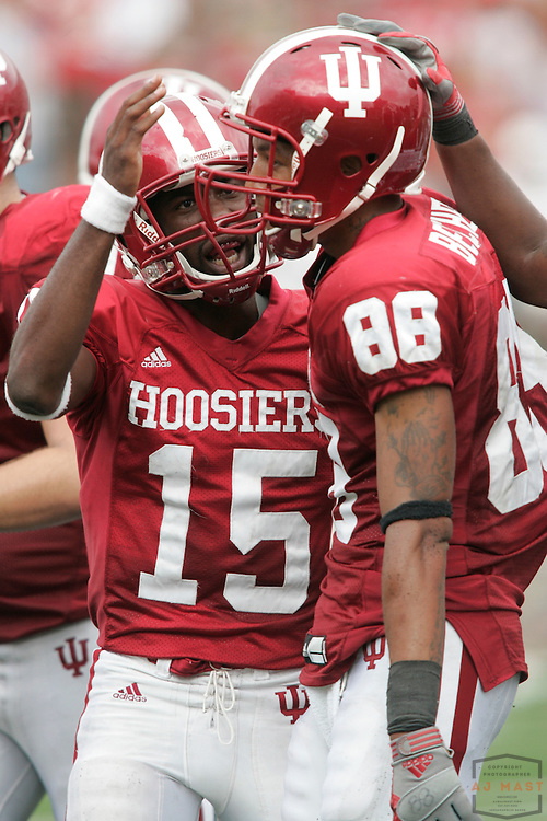 27 September 2008: Indiana quarterback Kellen Lewis (15) and Indiana wide receiver Damarlo Belcher (88) as the Indiana Hoosiers played the Michigan State Spartans in a college football game in Bloomington, Ind....