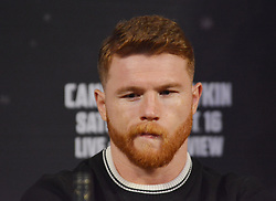September 13, 2017 - Las Vegas, Nevada, United States of America - Challenger Canelo Alvarez attends the final press conference  for the Undisputed IBO, IBF, WBC, WBA Middleweight Championship bout with Gennady Golovkin on September13, 2017 at the David Copperfield Theater inside the MGM Grand  hotel & Casino in Las Vegas, Nevada (Credit Image: © Marcel Thomas via ZUMA Wire)