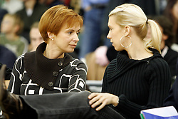 Valerija Vilfan with her daughter Anja Vilfan Ilievski, wife of Vlado Ilievski during Euroleague basketball match between KK Union Olimpija and Barcelona, on November 11, 2004, in Hala Tivoli, Ljubljana, Slovenia. (Photo By Vid Ponikvar / Sportida.com)