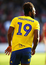Close up of the Mind Charity branding on the back of Birmingham City's Jacques Maghoma shirt