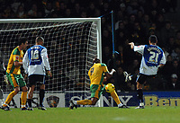 Photo: Ashley Pickering.<br />Norwich City v Sheffield Wednesday. Coca Cola Championship. 09/12/2006.<br />Madjid Bougherra fires in the opener for Sheffield Wednesday