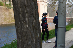 Alexis Ryan (USA) is interviewed ahead of Gent Wevelgem - Elite Women 2019, a 136.9 km road race from Ieper to Wevelgem, Belgium on March 31, 2019. Photo by Sean Robinson/velofocus.com